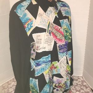 100% Silk Postcards Embellished Shirt Blouse Top M